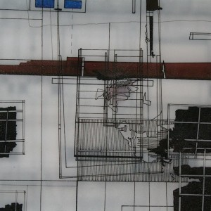 """114"" (2001), Detail. Ink on architects film. 220cm x 92cm"
